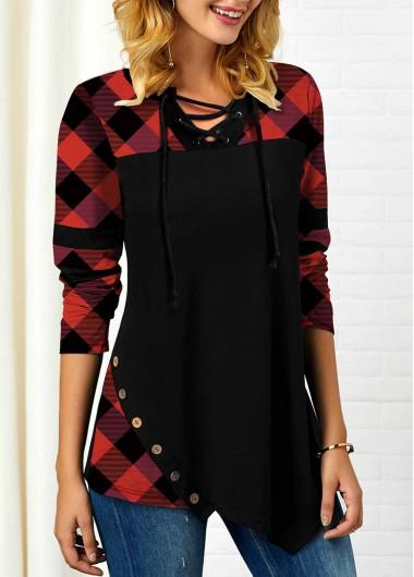 Asymmetric Hem Long Sleeve Plaid Print T Shirt - XL