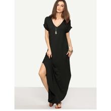 Rolled Sleeve Split Curved Hem Tee Dress