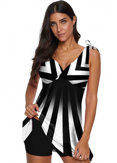 Striped V Neck Wide Strap Swimdress and Shorts - L