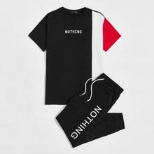 Guys Letter Graphic Colorblock Top & Drawstring Waist Joggers Set