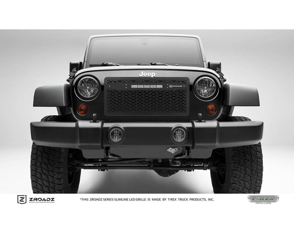 2007-2018 Jeep JK, JKU ZROADZ Grille, Black with Black Trim, 1 Pc, Insert, Incl. (1) 10