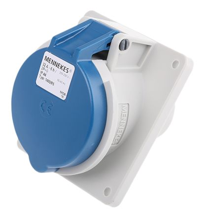 MENNEKES IP44 Blue Panel Mount 3P Angled Industrial Power Socket, Rated At 32.0A, 230.0 V