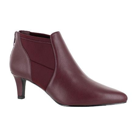 Easy Street Womens Saint Zip Pointed Toe Booties, 9 Medium, Red