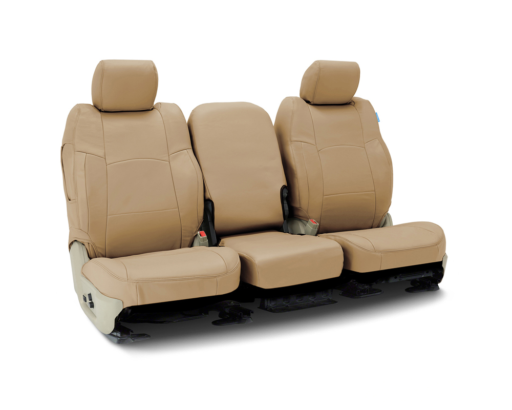 Coverking CSC1L5FD7248 Custom Seat Covers 1 Row Genuine Leather Beige Front Ford F-250   F-350 Super Duty 2002-2004