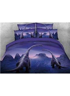 Vivilinen 3D Family Trachiosaurus under Meteor Shower 4-Piece Bedding Sets/Duvet Covers