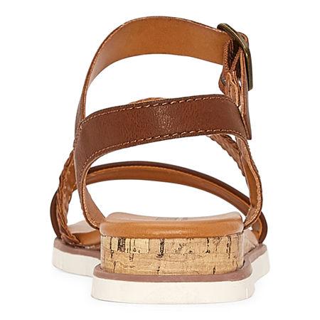a.n.a Womens University Ankle Strap Flat Sandals, 10 Medium, Brown