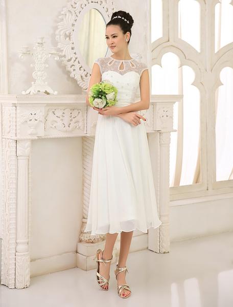 Milanoo Simple Wedding Dresses Ivory Lace Chiffon Beach Wedding Dress with Beaded
