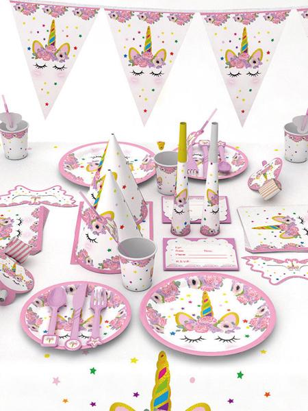 Milanoo Halloween Unicorn Party Supplies Kids Birthday Decorations 90pcs