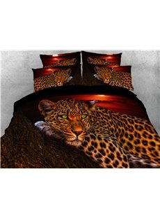 Wild Leopard Lying on the Trunk Digital Printed 3D 5-Piece Comforter Sets