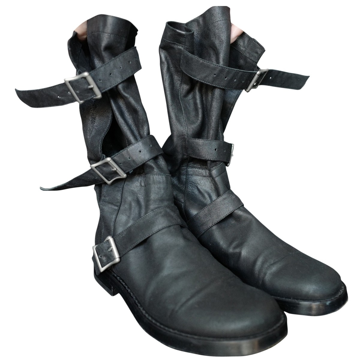 Ann Demeulemeester \N Black Leather Boots for Men 40 EU