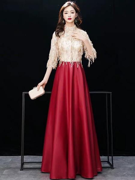 Milanoo Evening Dresses Half Sleeve Sequin Tassels High Collar Maxi Formal Gowns