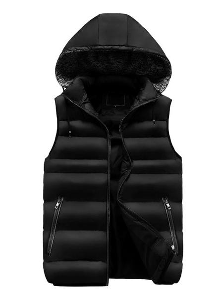 Milanoo Men Puffer Gilet Hooded Winter Vest Cotton Fill Padded Jacket