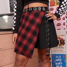 Plus Asymmetrical Hem Garment Eyelet Plaid Skirt