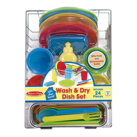 Melissa & Doug Let'S Play House! Wash & Dry Dish Set, One Size , Multiple Colors