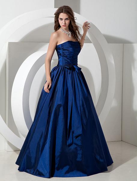Milanoo Bridesmaid Dresses Long Royal Blue Taffeta Evening Dress Floor Length Strapless A Line Pleated Prom Dress