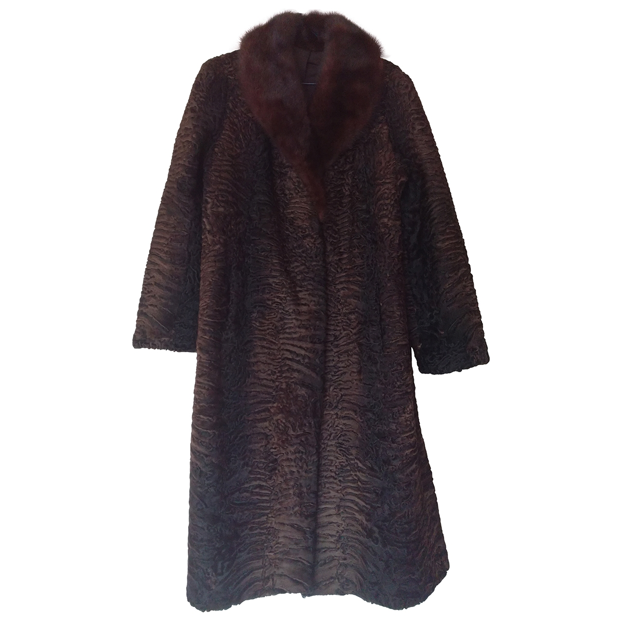 Non Signé / Unsigned \N Brown Astrakhan coat for Women 42 FR