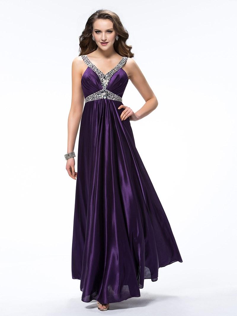 Elegant V-Neck Beading Ruched Straps Empire Floor-Length Evening Dress