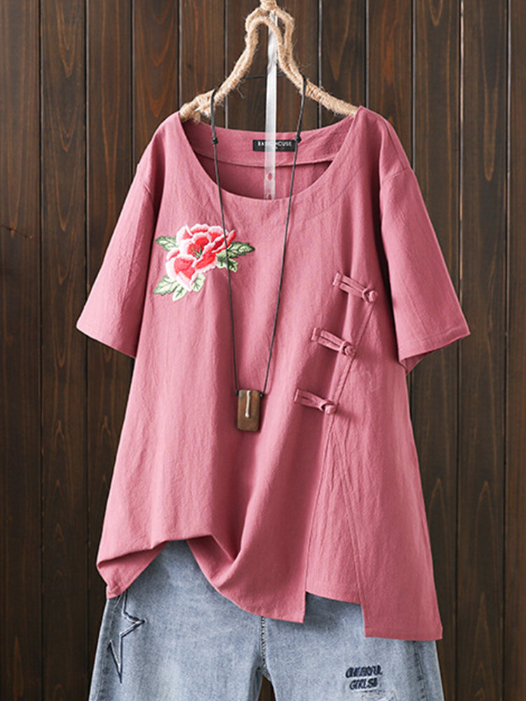 Flower Embroidery Frog Button Plus Size T-shirt