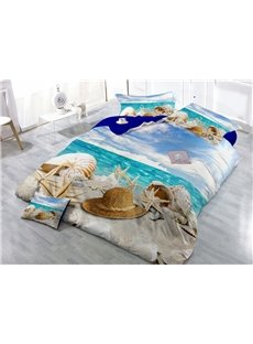 Beach Starfish Wear-resistant Breathable High Quality 60s Cotton 4-Piece 3D Bedding Sets