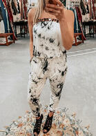 Tie Dye Leopard Splicing Sleeveless Jumpsuit without Necklace - White