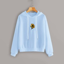 Sunflower Embroidery Hoodie