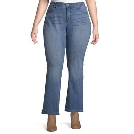 St. John's Bay Womens Regular Fit Bootcut Jean, 20w Short , Blue