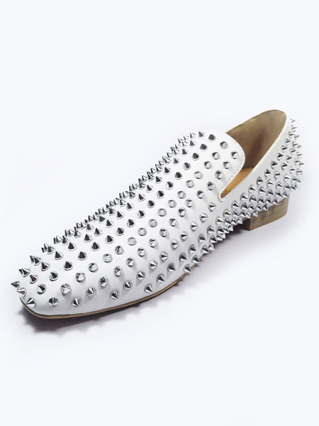 Milanoo White Mens Spike Loafers Shoes with Rivets Prom Shoes