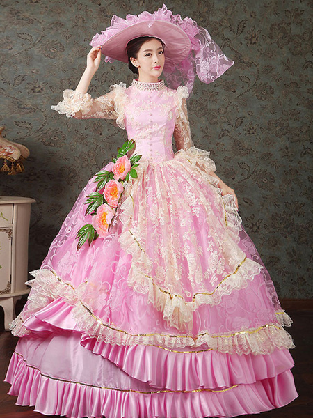 Milanoo Victorian Dress Costume Women's Stand Collar Pink Vintage Victorian era Clothing Royal Ball Gown Pageant Costumes Dress Halloween