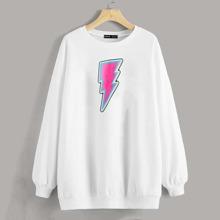 Drop Shoulder Lightning Print Pullover
