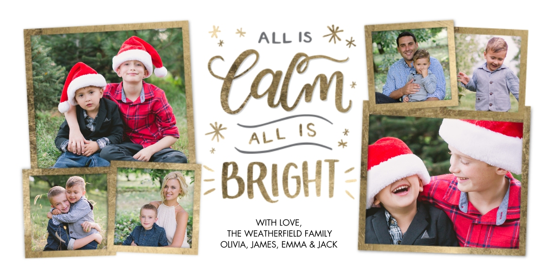 Christmas Photo Cards 4x8 Flat Card Set, 85lb, Card & Stationery -Christmas Hand Lettered Calm by Tumbalina