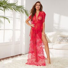 Floral Lace Long Dress With Thong