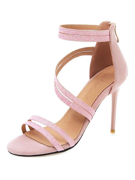 Milanoo High Heel Sandals Womens Strappy Open Toe Ankle Strap Stiletto Heel Sandals