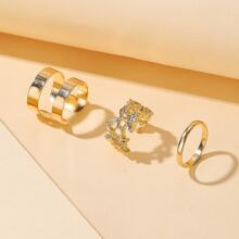 3pcs Hollow Out Cuff Ring