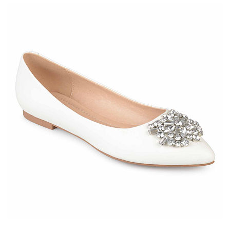 Journee Collection Womens Renzo Ballet Flats Pointed Toe, 8 Medium, White