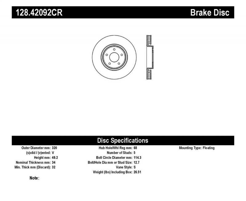 StopTech 128.42092CR Sport Cryo Cross Drilled Brake Rotor; Front Right Infiniti FX Series Front Right 2005-2011