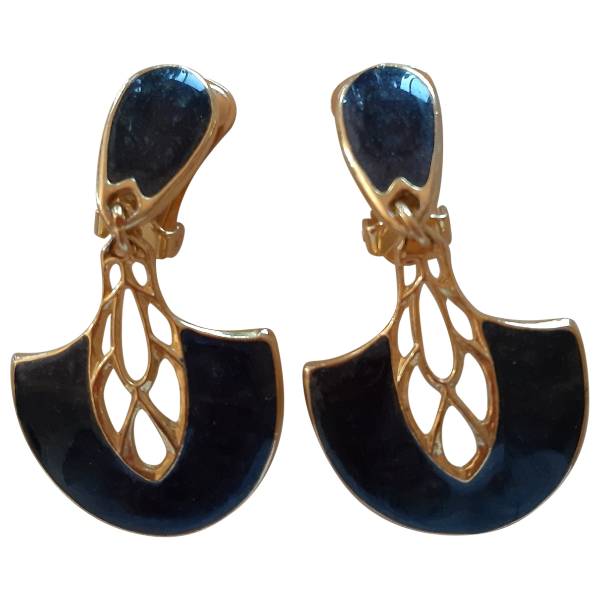 Non Signé / Unsigned Art Déco Blue Metal Earrings for Women \N