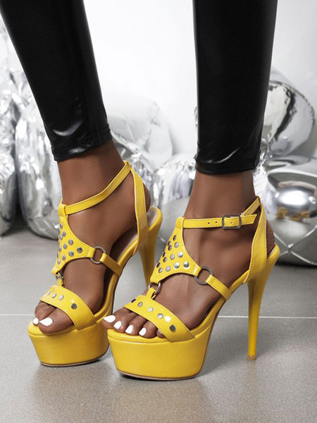 Milanoo High Heel Sexy Sandals Yellow Patent PU Upper Round Toe Sexy Shoes