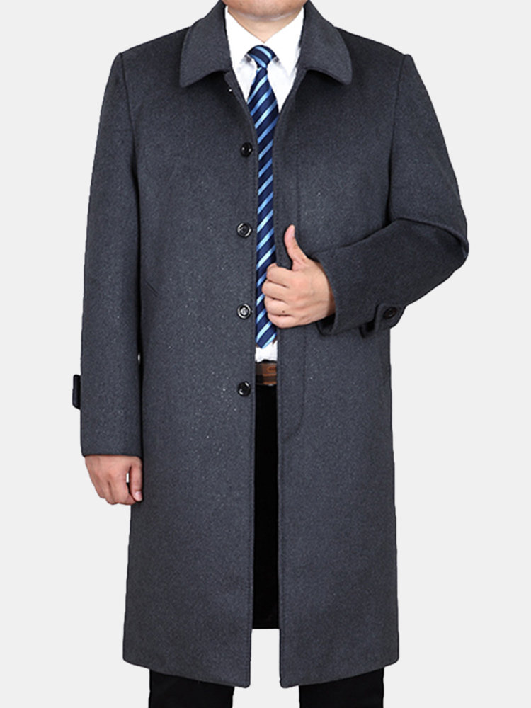 Winter Woolen Mid-long Business Casual Trench Coat Turn-down Collar Jacket for Men