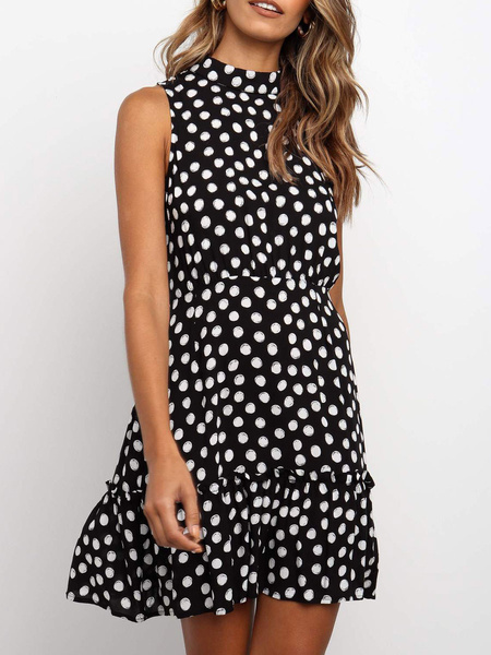Milanoo Polka Dot Summer Dresses Black Cotton Sundress