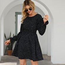 Polka Dot Flounce Sleeve Dress