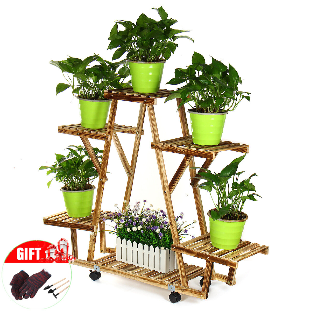 Wood Plant Stands High Rolling Plant Display Stand for Multiple Plants Garden Balcony, Natural Wood