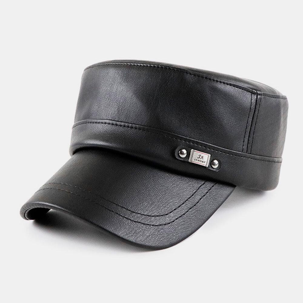 PU Flat Cap Men Autumn And Winter Simple Retro Hat Navy Hat Military Hat