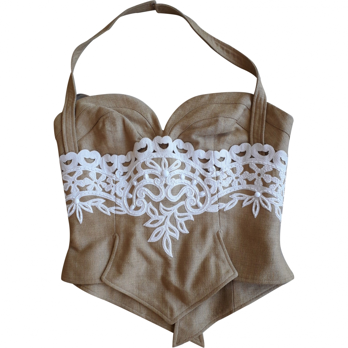 Non Signé / Unsigned \N Camel Lace  top for Women 36 FR