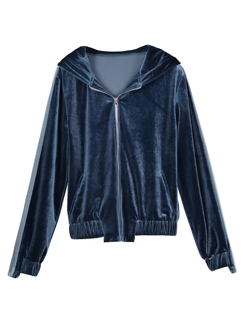 Ericdress Loose Hooded Plain Zipper Women's Jacket