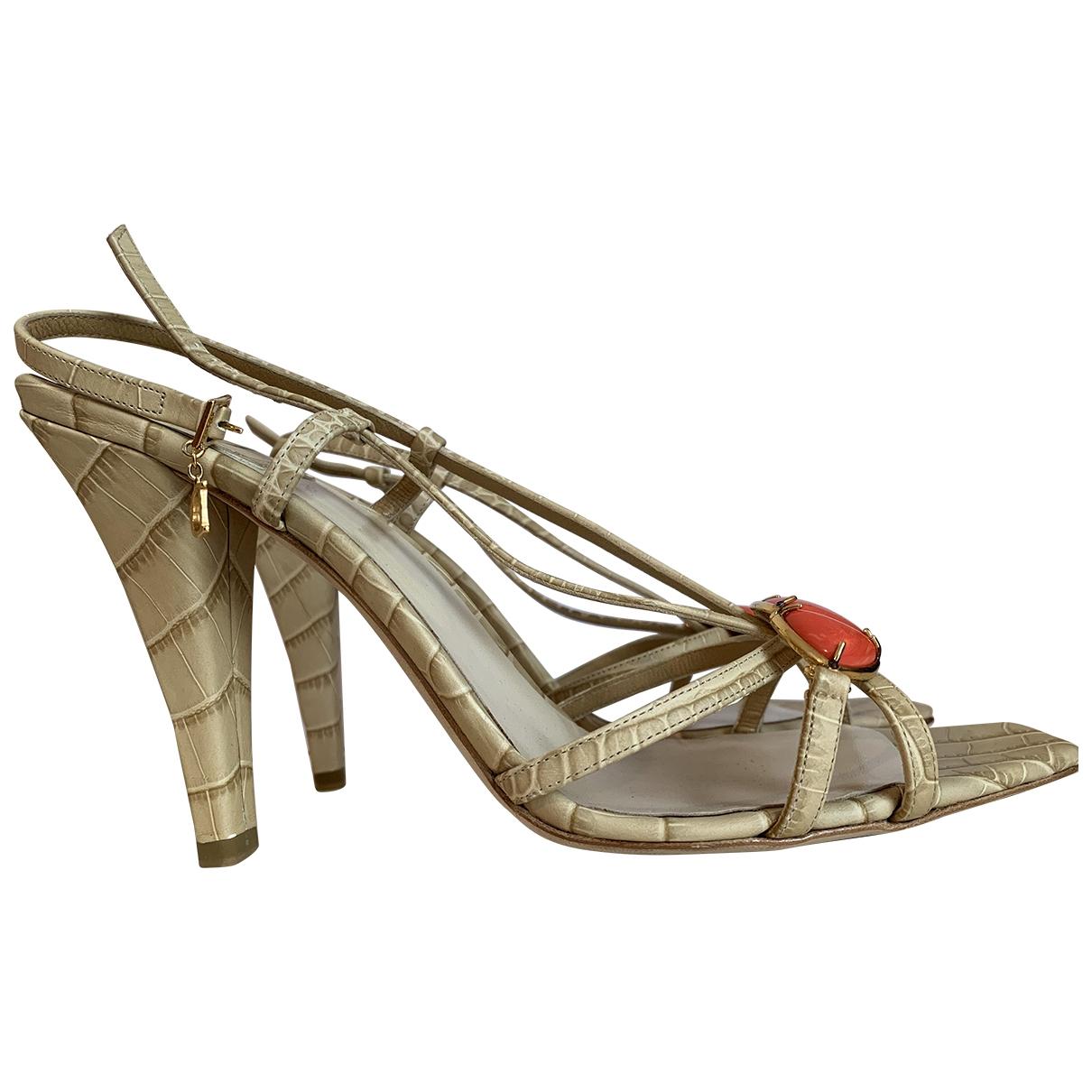 Dior \N Beige Leather Sandals for Women 40 EU