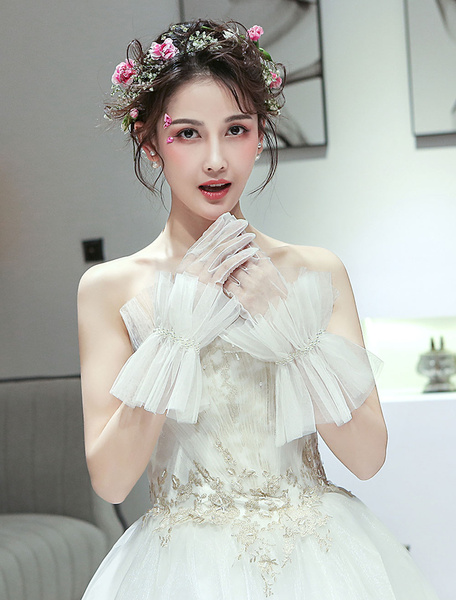 Milanoo Bridal Gloves Ivory Pearls Tulle Wrist Length Ruffles Wedding Accessories