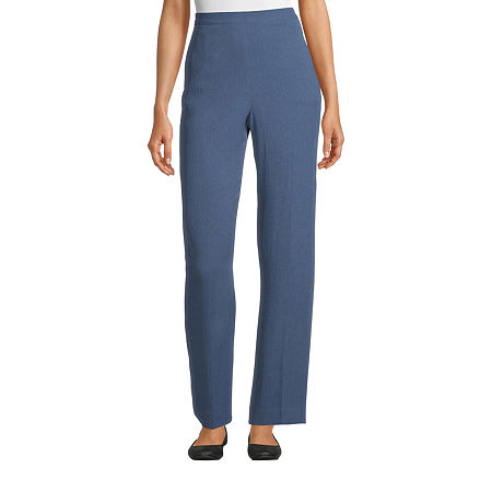 Alfred Dunner Palo Alto Womens Straight Flat Front Pant, 8 Short , Blue
