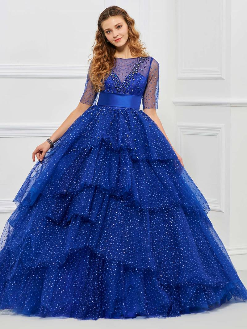 Ericdress Sweet Short Sleeve Dot Print Layer Tulle Ball Quinceanera Dress