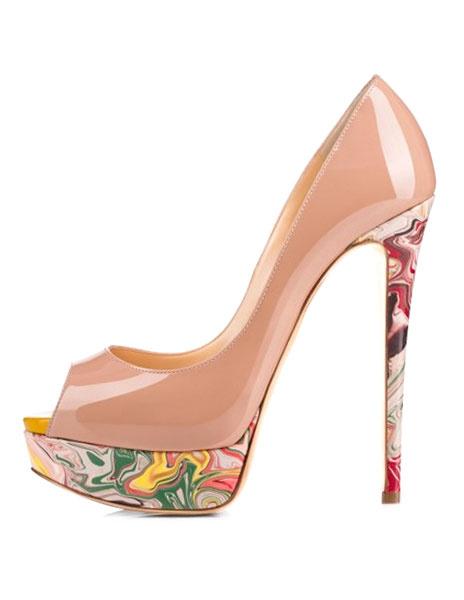 Milanoo Nude Platform Heels Women Dress Shoes Peep Toe Printed High Heels