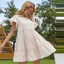 Eyelet Embroidered Tie Back Babydoll Dress